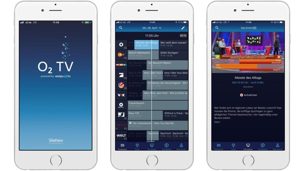 O2 TV App mit EPG auf dem iPhone