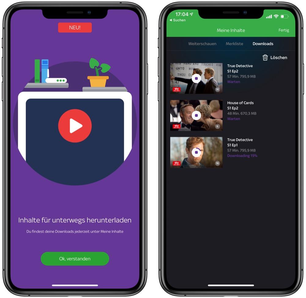 Sky Ticket App mit Offline-Funktion